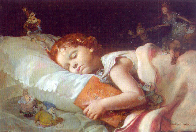 Dreaming of Snow White and the Seven Dwarfs, a painting by Franz Schrotzberg